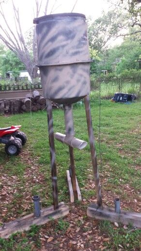My very own gravity feeder 20 bucks to build scrap wood for How to build a deer feeder out of pvc pipe
