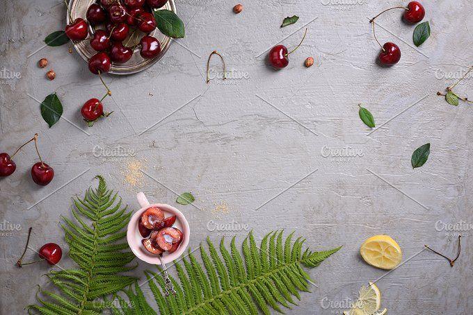 Fresh red cherries, clafouti dessert by Iuliia Leonova on @creativemarket