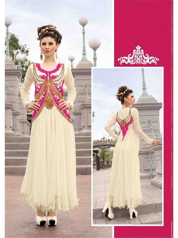 Ivory Partywear Net Women Gown Price INR 4013