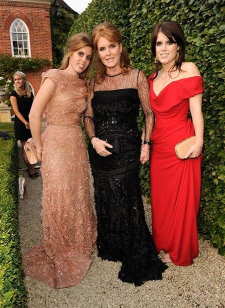 Princess Beatrice and Princess Eugenie of York with their mother Sarah, Duchess of York.