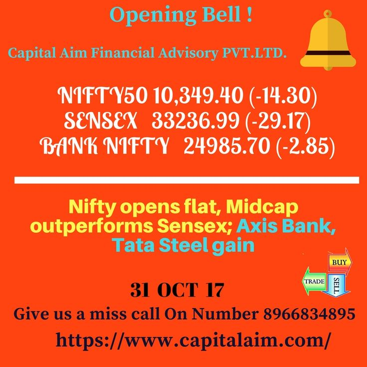 #Capital_Aim Opening Bell 31 OCT 17  Market Live: Nifty opens flat, Midcap outperforms Sensex; Axis Bank, Tata Steel gain #NIFTY50 10,349.40 (-14.30) #SENSEX   33236.99 (-29.17) #BANK NIFTY 24985.70 (-2.85) Give us a miss call on number  📲 +91-8966834895  https://lnkd.in/fdm3G8m  #CommodityTips #StockTips #BestStockAdvisoryinIndore #NiftyTips#IntradayTips