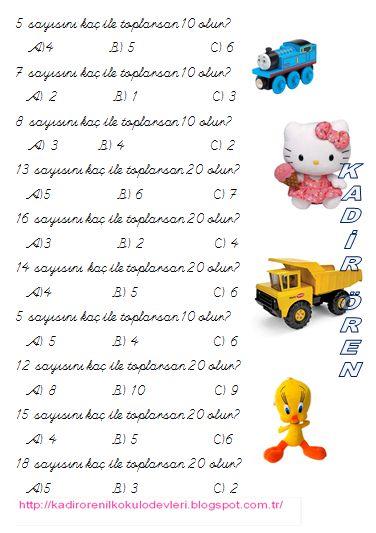 ilkokul ödevleri: Toplamları 10 veya 20 olan sayılar