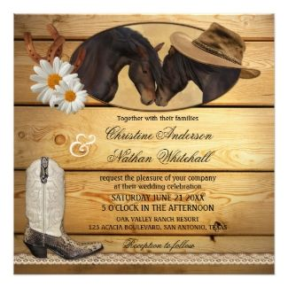 Country and western wedding invitation featuring two horses, horseshoes and cowboy boot with daisy flowers on rustic wood