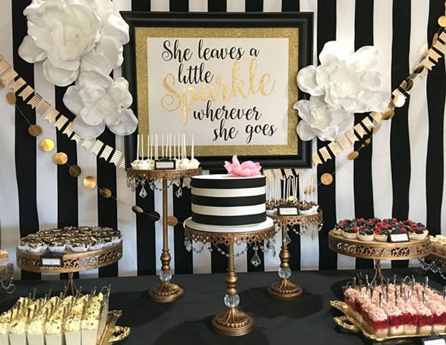 Kate Spade Party. Achromatic - Color Party Trend 3: Color sets the stage for fabulous fun | Halfpint Design: This achromatic Kate Spade inspired party is accented in gold and a tiny bit of pink.