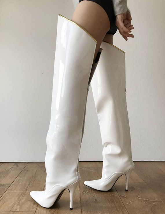 a9c7efb22a22 RTBU SLICK 12cm Stiletto Hard Shaft Gold Piping Mid-Thigh Boot Patent White High  Heel