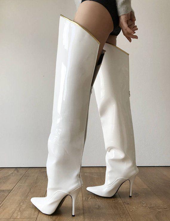 57b919bd9cf0 RTBU SLICK 12cm Stiletto Hard Shaft Gold Piping Mid-Thigh Boot Patent White