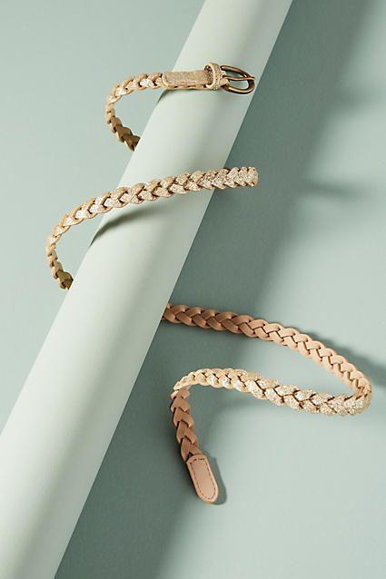 BTB Metallic Braided Skinny Belt