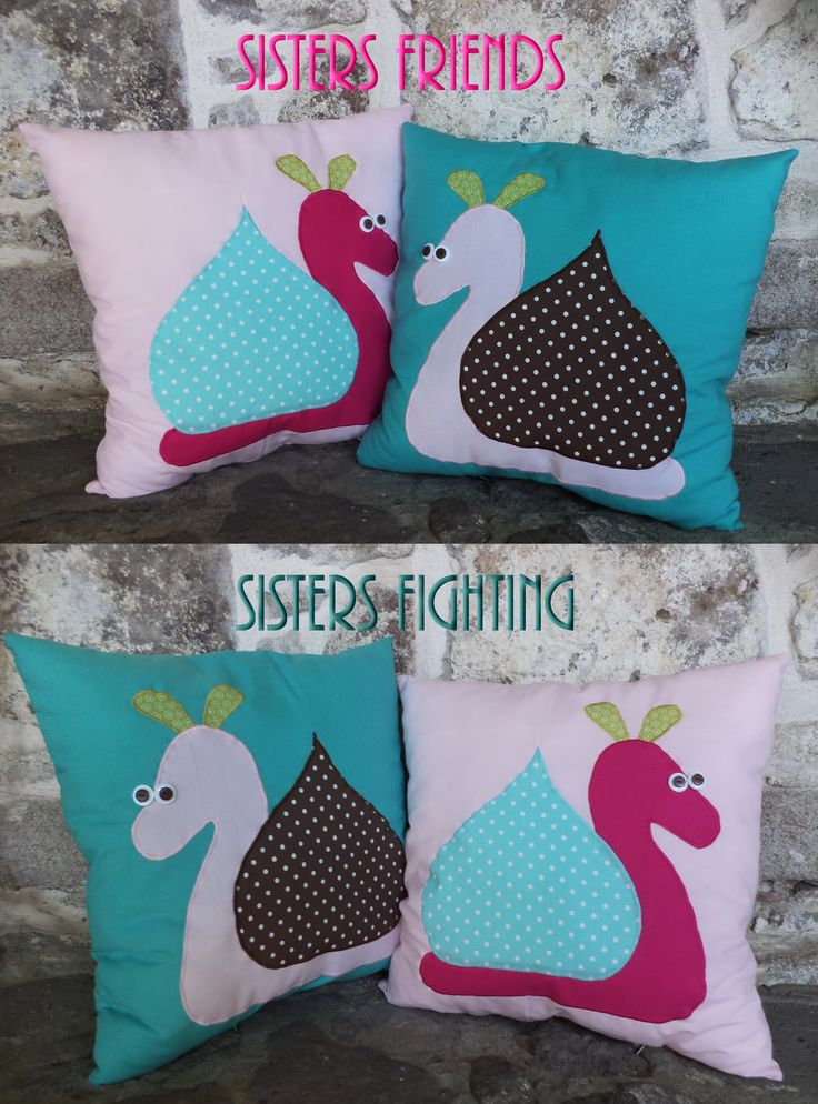 Snail Cushions with a message Made for my nieces