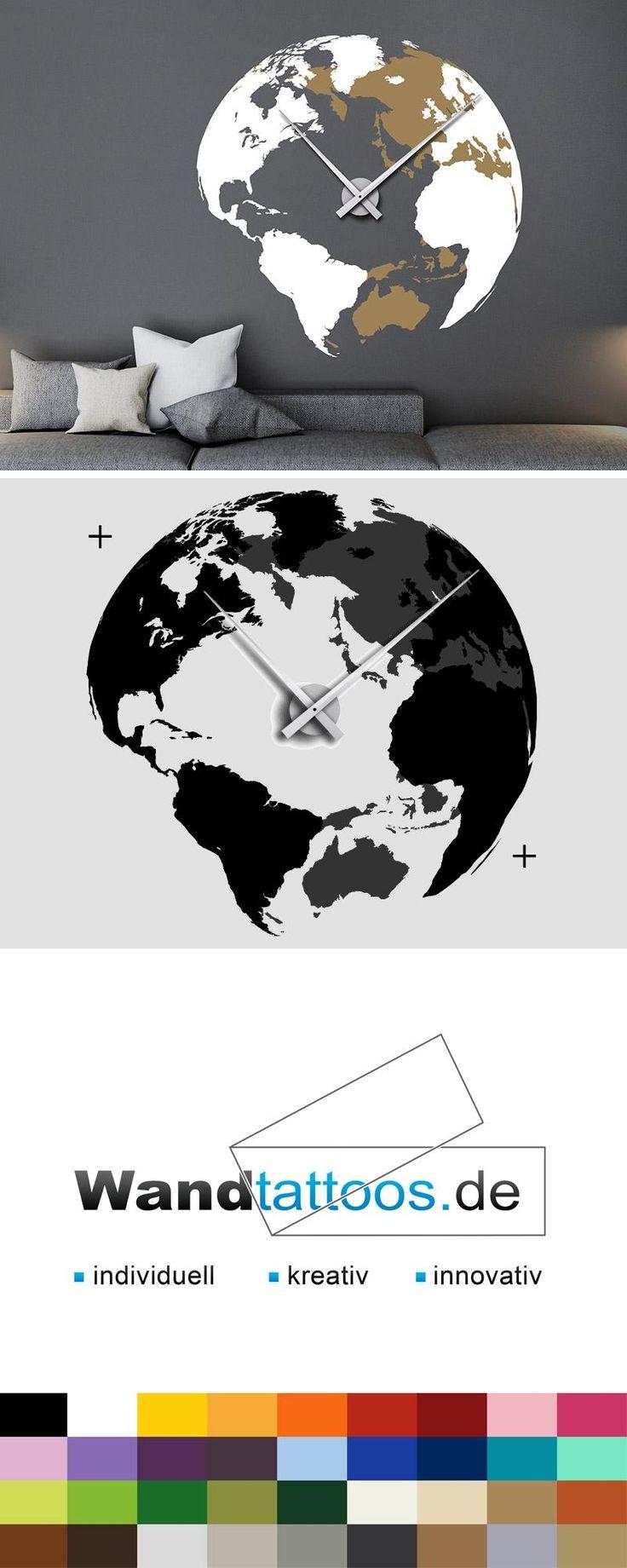 Best Wandtattoo Globus Uhr Weltkugel