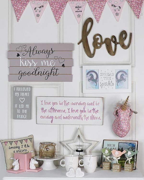 Love all thing pink and girly? Take a look at our collection! #unicorn #interiordesign #interiordecor #kidsroom #wallart #gallerywall #stars #funnyquote #homeideas #trends #homedesign #styling #homestyling