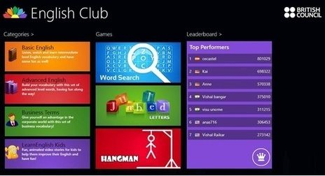 Learn English with English Club app for Windows 8