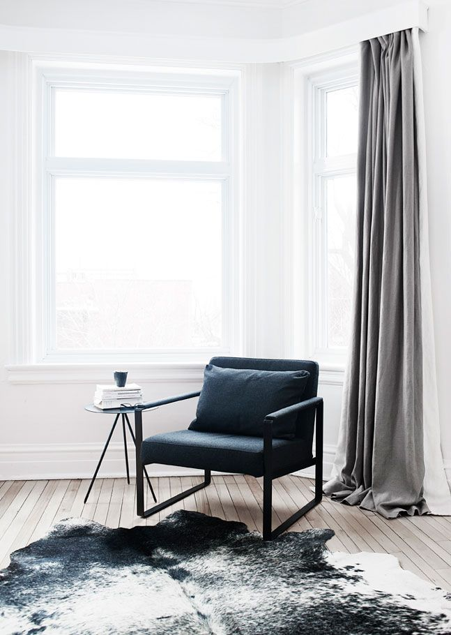 simple chair and table vignette. monochrome. home inspiration.