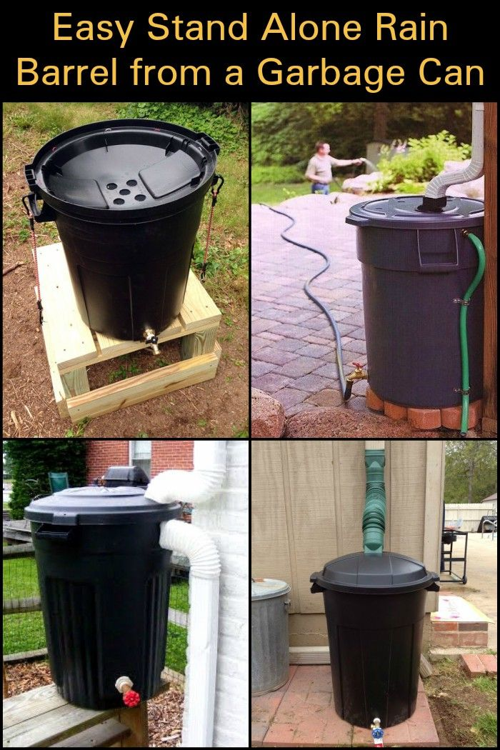 Easy Stand Alone Rain Barrel From A Garbage Can Rain Barrels Diy Rain Barrel System Rain Barrel