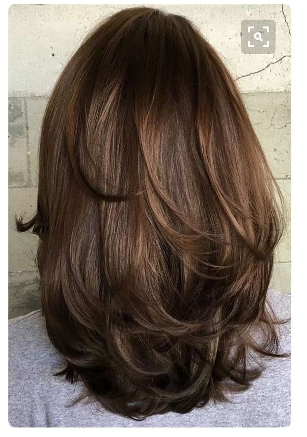 Light Layers Medium Length Brunette Hair Haircut For