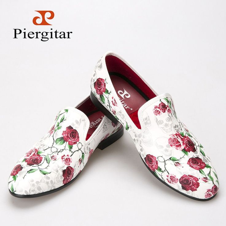 New style Skull and Flowers Prints white color men shoes Fashion men smoking slipper Wedding Party men's loafers