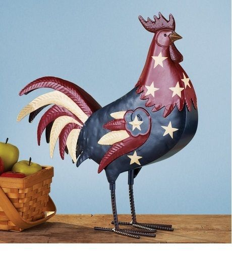 Patriotic Country Rooster Chicken Metal Statue Rooster