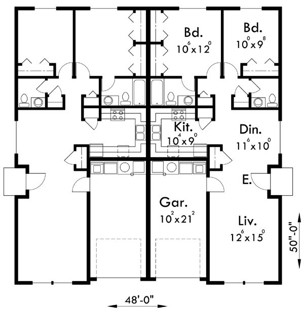 1000 ideas about duplex house plans on pinterest duplex for Up down duplex floor plans