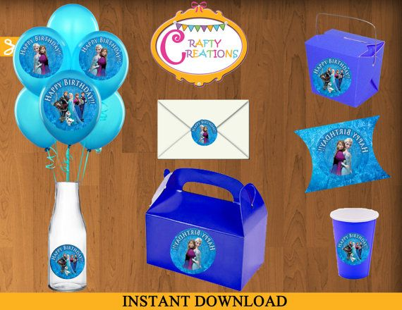FROZEN Stickers Instant Download Circular Stickers Party Favor Tags