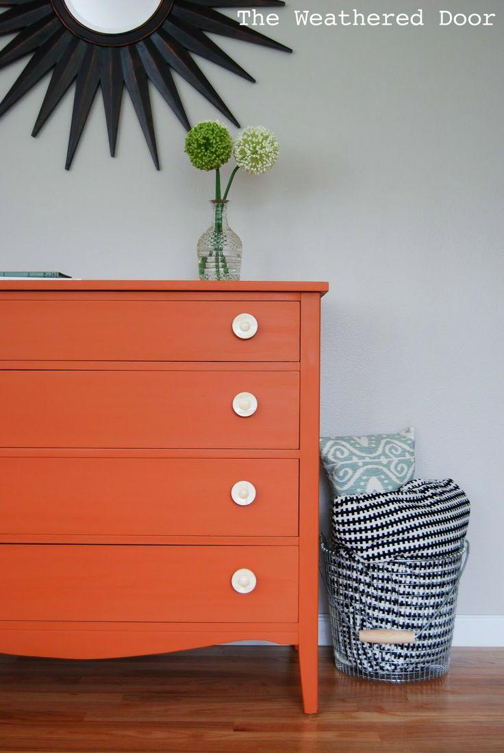 best  orange dresser ideas on pinterest  diy orange furniture  - the weathered door an orange milk paint dresser with bone knobs