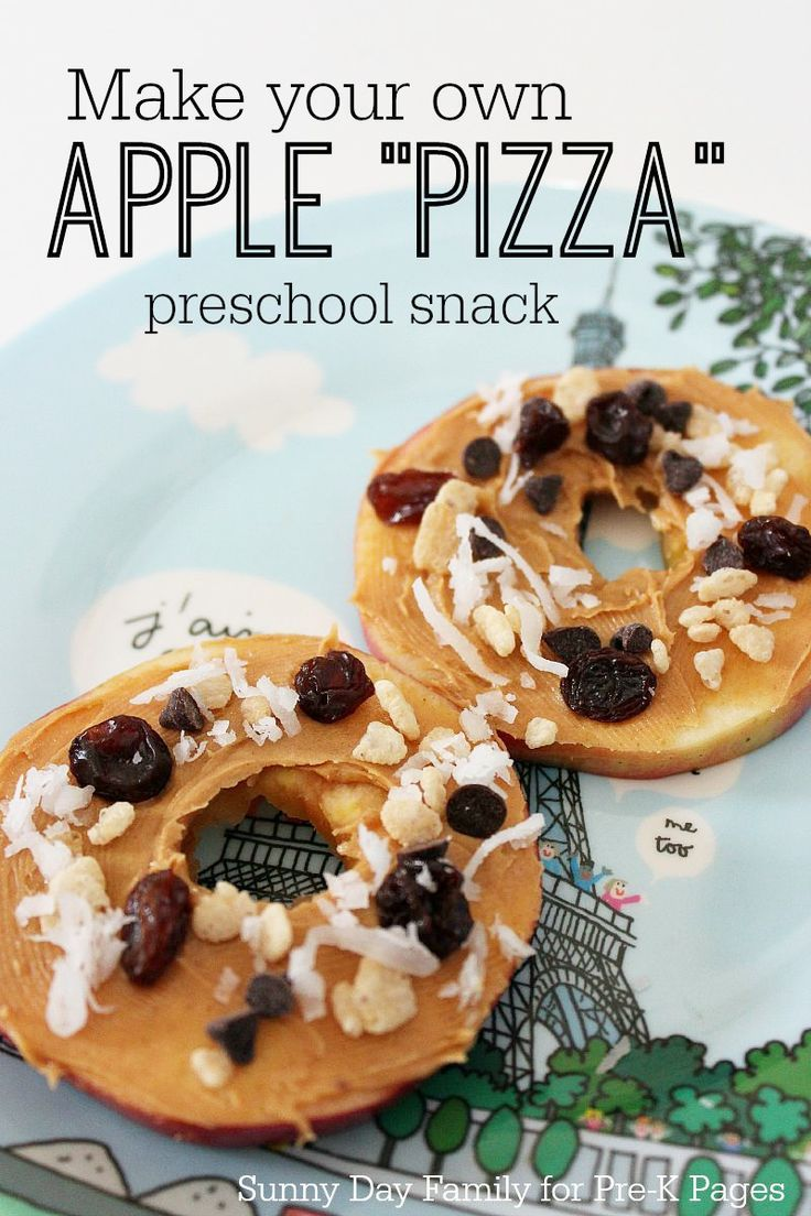 Apple Pizza Snack Activity for Preschool and Kindergarten. Kids can make this apple snack themselves to support fine motor skills and independence. A healthy snack your kids will love!