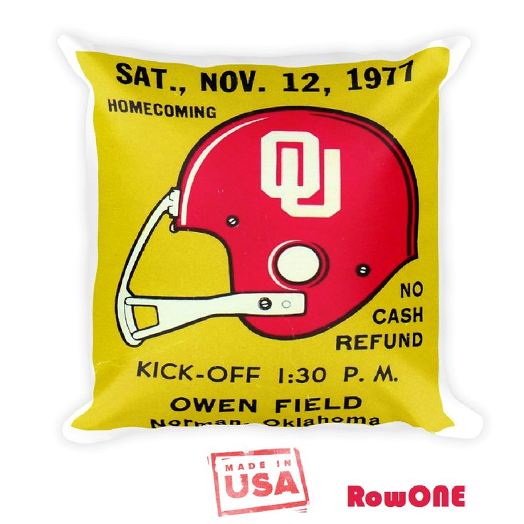 1977 OU Sooners Retro Ticket Pillow made from an authentic '77 Oklahoma football ticket. #BoomerSooner #Oklahoma