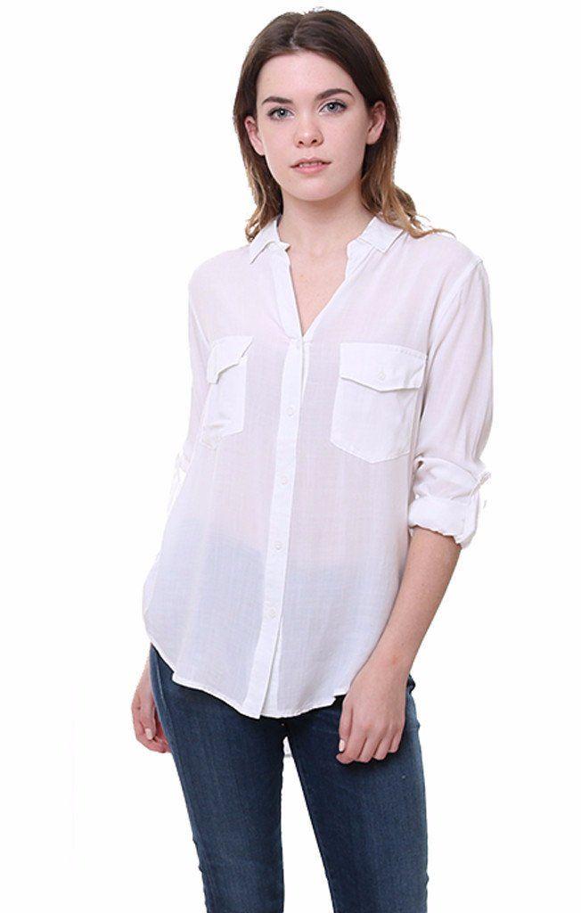 Rag Poets Shirts White Button Down Top - White - S