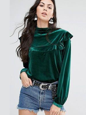 Bluza catifea verde eleganta cu maneca lunga in stil vintage