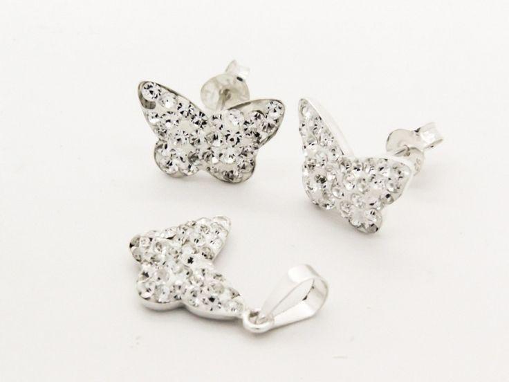 Fehér Swarovski kristályos pillangó motívumos fülbevaló és medál szett