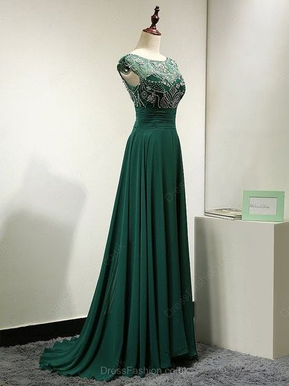 Dark Green Scoop Neck Tulle Chiffon Sweep Train Beading Backless Prom Dresses in UK