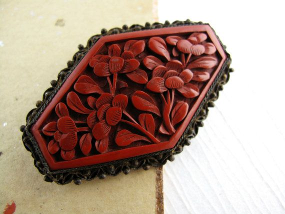 Vintage Red Cinnabar Oriental Brooch Beauifully Carved Red