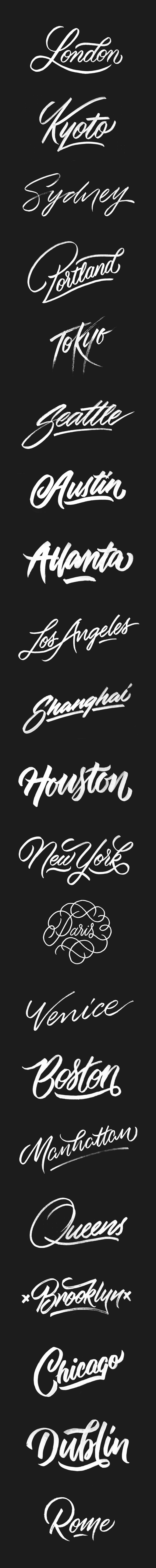 Cities | A Brush-Type Lettering Series By artist @ginozko #typography #…