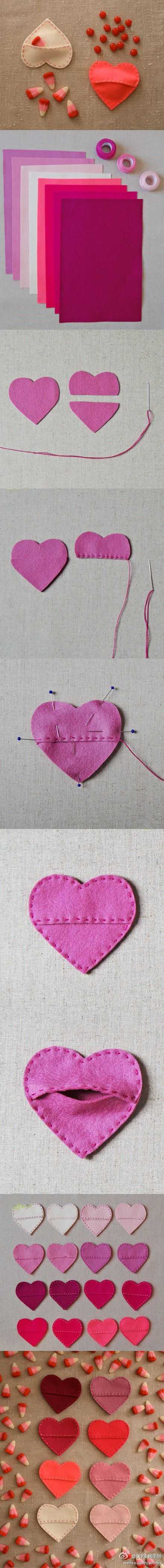FELT HEART... great little goodie holder!