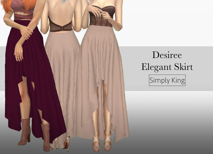 Desiree Elegant Skirt• New Mesh • 15 Swatches • All LODs • Custom Ambient Occlusion (Shadow Map) Download on my Blog: HereIf you use please tag me (#simplyking) I would love to see! ♥ Thank You! ʕ⊙ᴥ⊙ʔ T.O.U. below [[MORE]]T.O.U. • Allow recolor but...