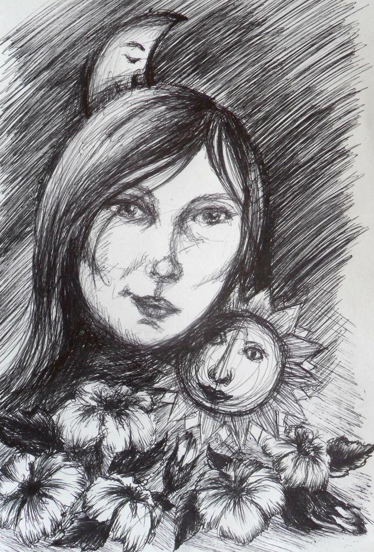 """""""Dzień i noc"""" - rysunek czarnym cienkopisem"""
