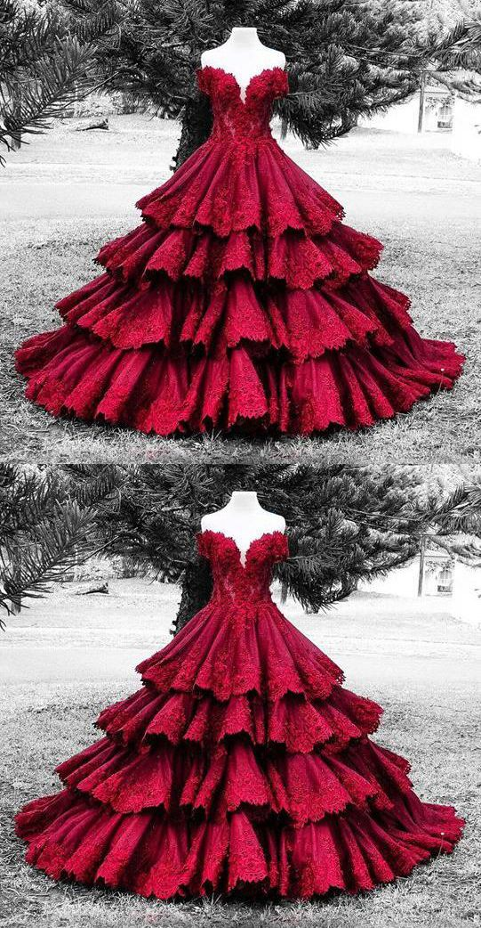 Gorgeous Quinceanera Dress,Off The Shoulder Ball Gown,Applique Prom Dress,Fashion Prom Dress #red #Ball Gown #sweet16 #Quinceanera #okdresses