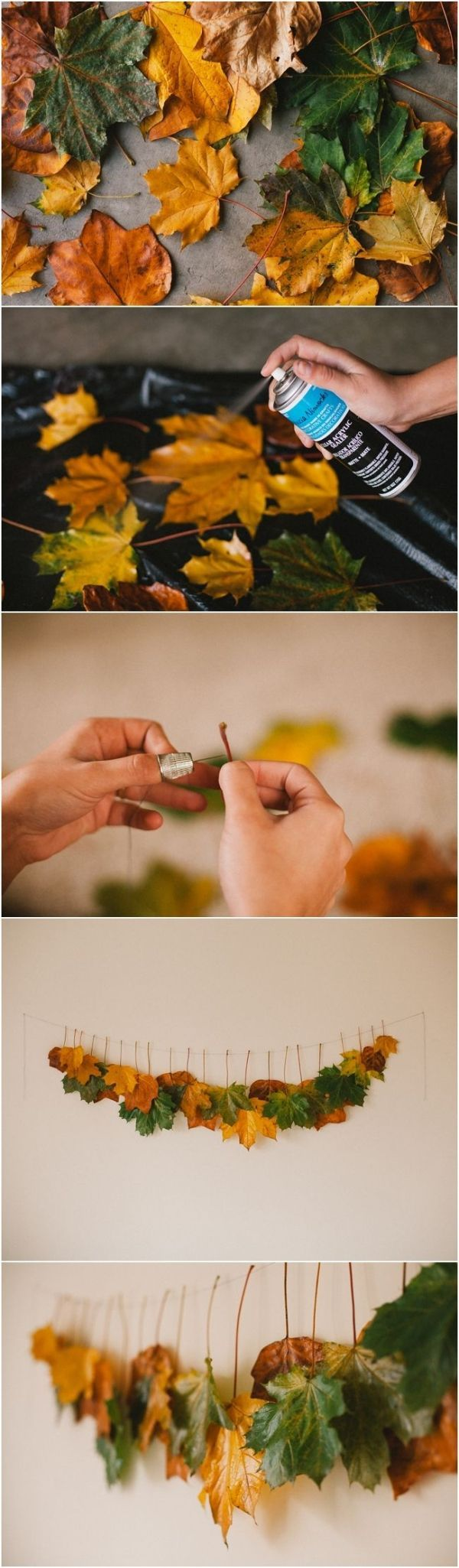 Spray fall leaves with clear sealer and hang from a string on the wall for some beautiful and 100% natural fall decor.