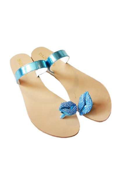 Lip Diamante Sky-blue Slippers  romwe.com