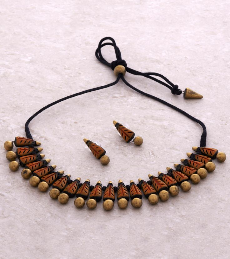 Orange, Golden & Black Hand Painted Terracotta Necklace Set