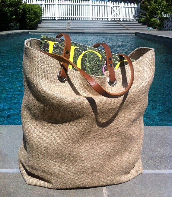 Woven Tote Bag Linen Tote Jute Tote Beach Bag by IndependentReign
