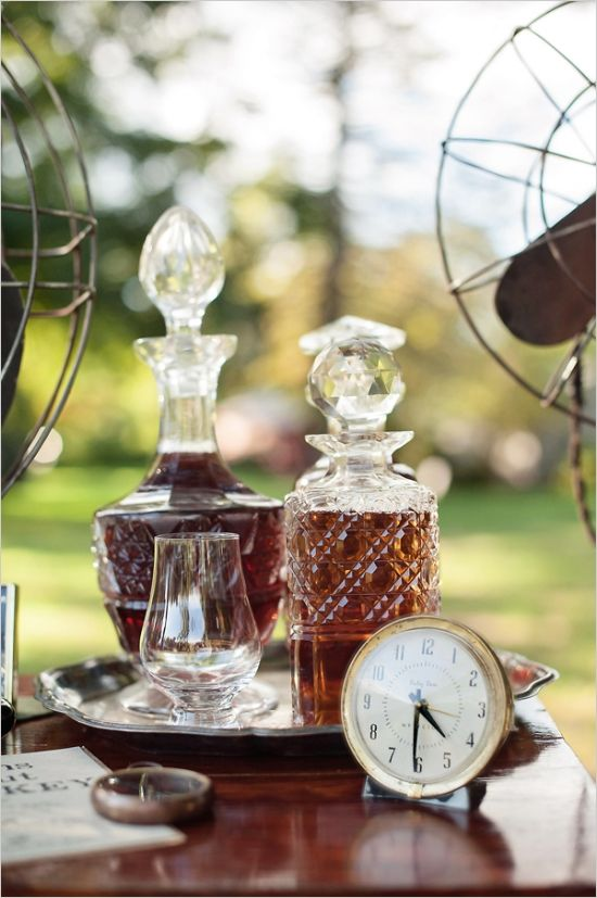 crystal decanters for whiskey #masculinewedding #weddingdecor #weddingchicks http://www.weddingchicks.com/2014/04/03/masculine-wedding-ideas/