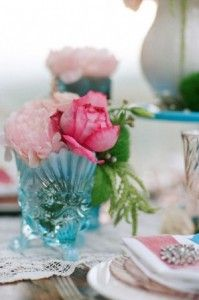 Pink and Teal Wedding Flower Centerpieces | The Wedding Specialists