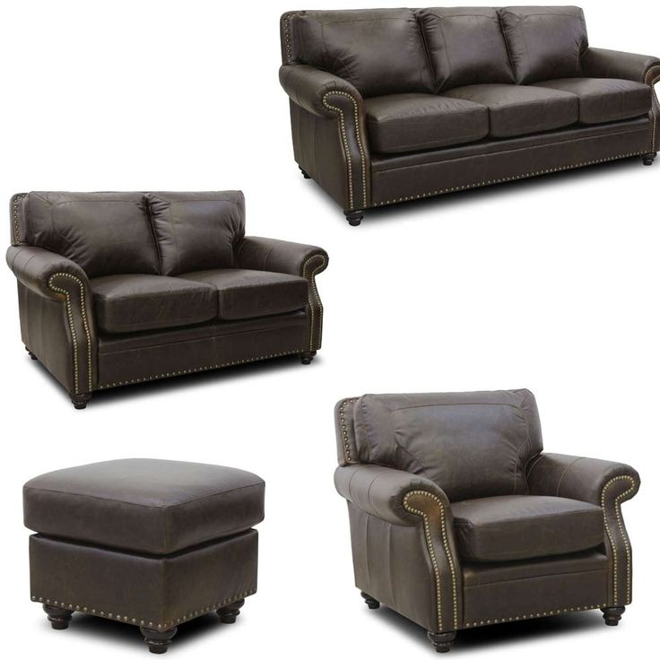 Luke Leather - Mason 4 Piece Arabica Italian Leather Living Room Set in Closeout - MASON-SLCO-CLOSEOUT