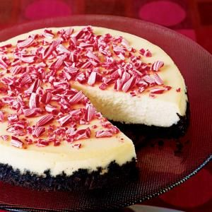 This peppermint cheesecake features a homemade Oreo cookie crust and crushed peppermint candy topping. It's hard to imagine a more festive holiday dessert.