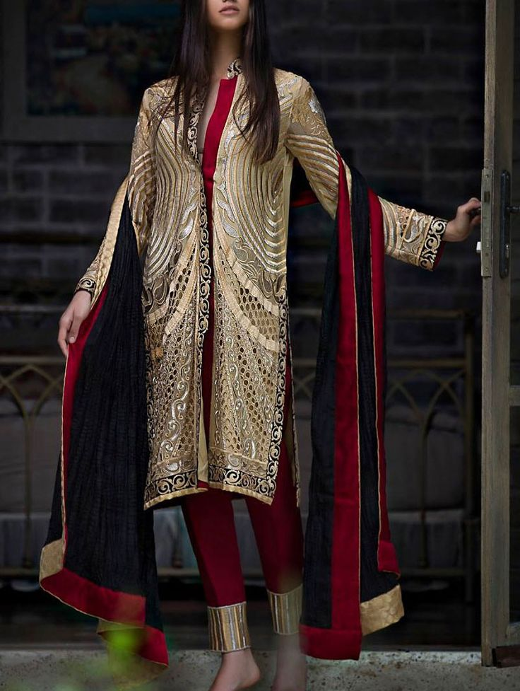 Buy Golden/Maroon Embroidered Chiffon Dress by Zunuj 2015.