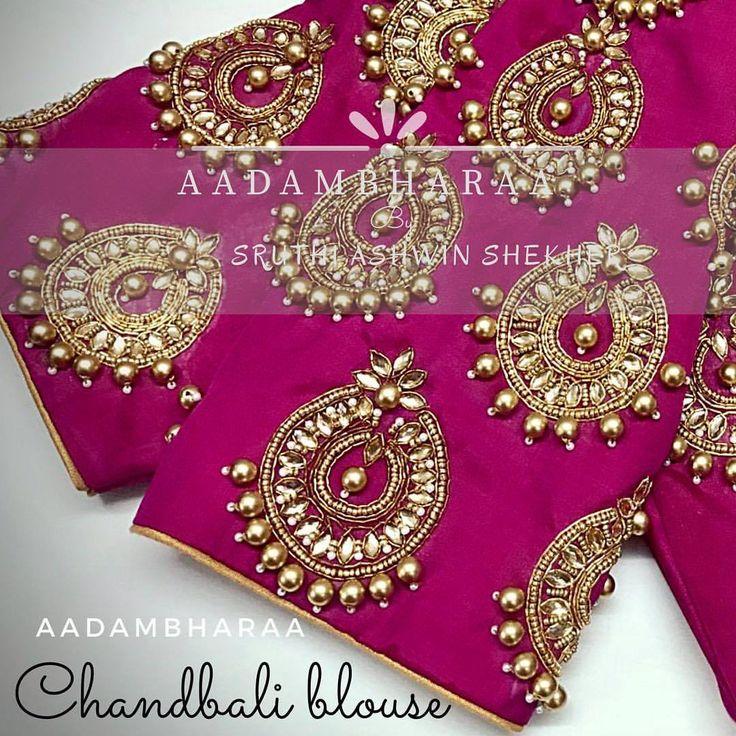 Beautiful pink color bridal designer blouse with chandbali design hand embroidery kundan work from Aadambharaa. 26 July 2017