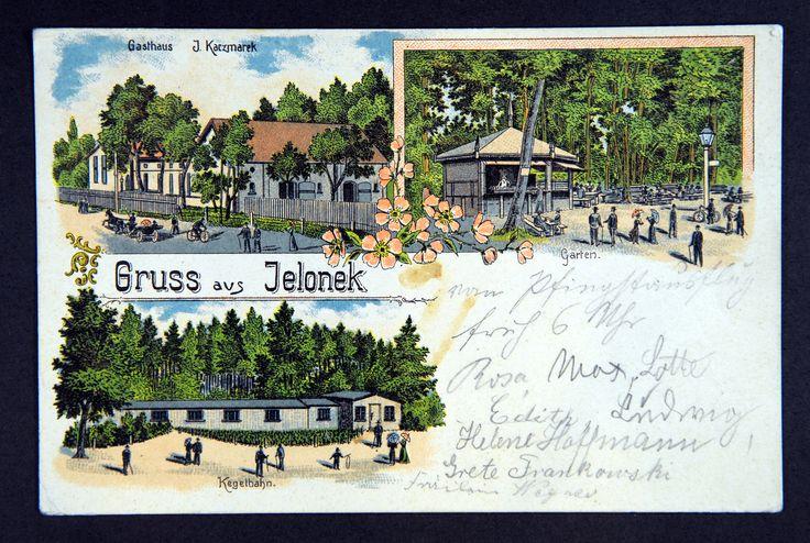 Pocztówka z przełomu XIX i XX w. Widać na niej ówczesne atrakcje, które tam się w okolicy lasu Jelonek: Karczmę J. Kaczmarka, ogród z kawiarnią na wolnym powietrzu i kręgielnię.