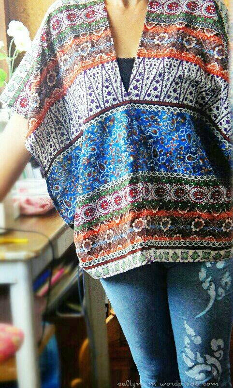 nice idea for making a poncho type top