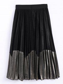 Color Block Velvet Pleated Skirt - BLACK/GOLDEN ONE SIZE