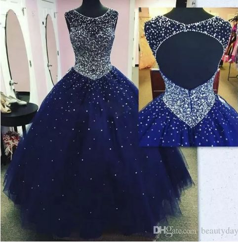 Modest Sparkly Dark Blue Prom Dress Quinceanera Dresses Masquerade 2018 Sheer Neck Open Back Bling Crystal Pageant Dresses For Sweet 16