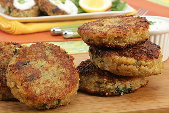 Quinoa Cakes with Lemon Yogurt Sauce recipe - Canadian Living